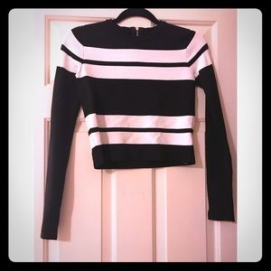 Zara B&W Striped Crop Top - SM